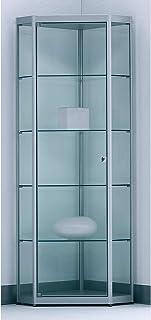 Vitrine à 5 coins INSIDE - 4 tablettes, paroi arrière miroir - h x l x p 1820 x 525 x 525 mm - armoire vitrine armoires vi...