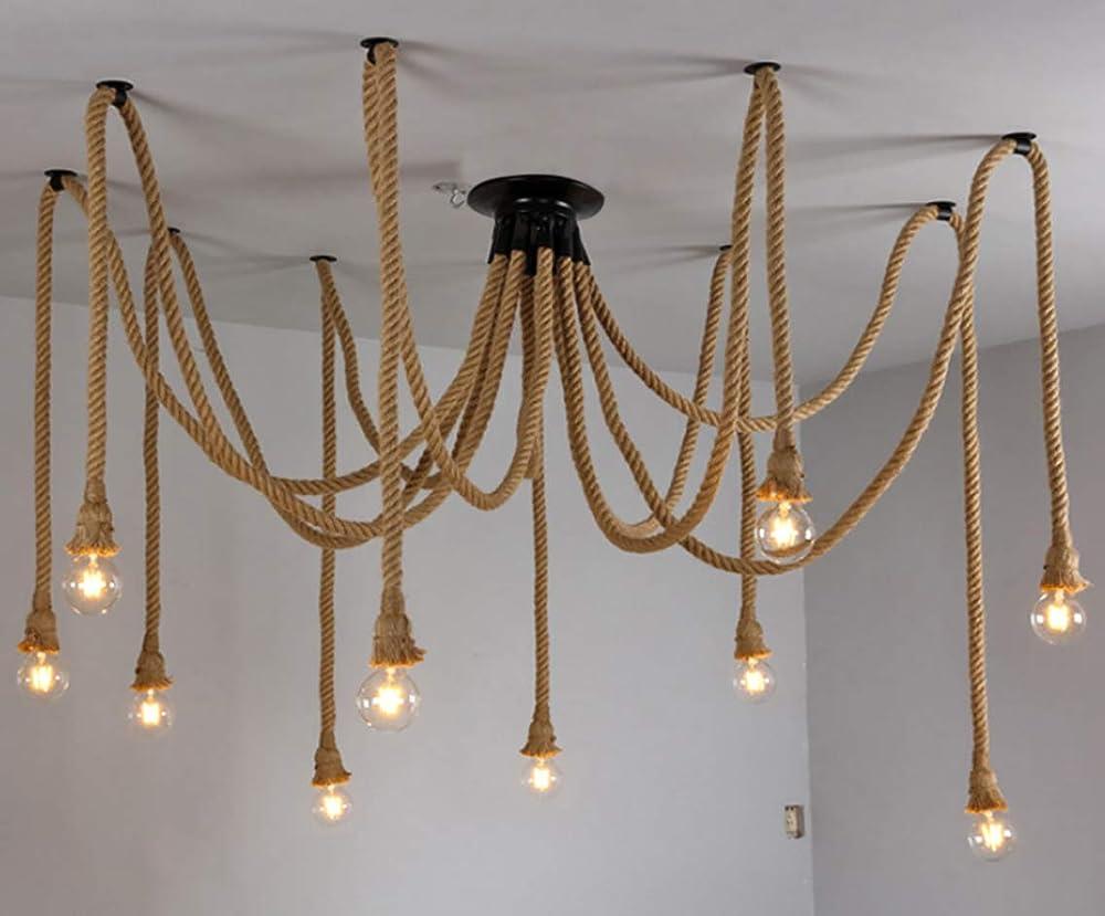 Lanlan ting, lampadario a sospensione a forma di ragno, in corda di canapa, metallo e corda di canapa