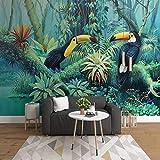 YIERLIFE Mural Papel Pintado Tropical Selva Plantas Flores Y Pájaros Múltiples Tamaños Y Estilos Papel Pintado Pared Paisaje Foto Mural 3D Fotomurales Decorativos Pared Moderna Póster