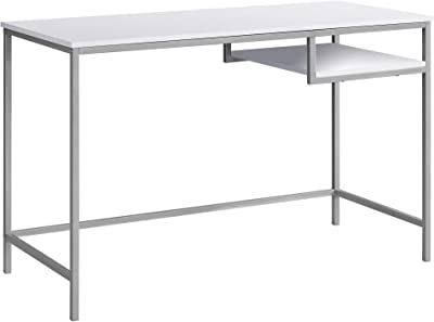 """Monarch Specialties Contemporary Laptop Table with Shelf Home & Office Computer Desk-Metal Legs, 48"""" L, White"""