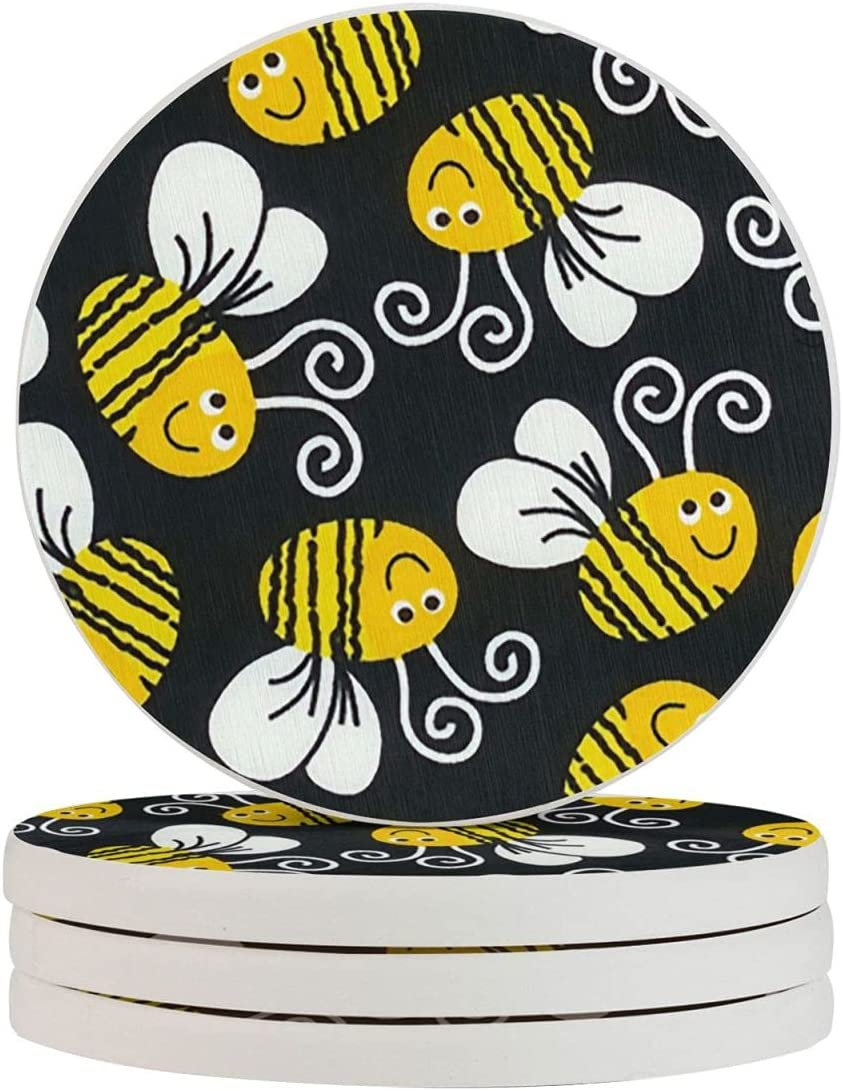Coasters Set of 4 1 year warranty for Bee Bumble Funny Drinks Absorbent Product