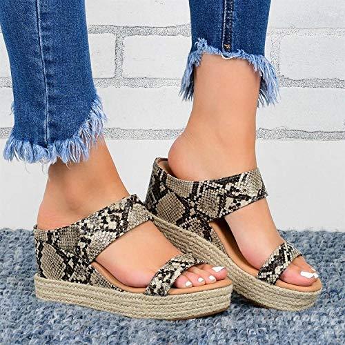 ypyrhh Hochzeitsfeier Kleid Stiletto,Muster Sandalen und Hausschuhe,Keil Frauen Hausschuhe-Schlange Muster_36,Beach Slipper wasserdichte Schuhe