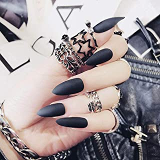 Fstrend Matte Sharp Black Fake Nails Tip Full Cover Acrylic Solid Color False Nails Punk Fashion Party Clip on Nails for Women and Girls(24Pcs)