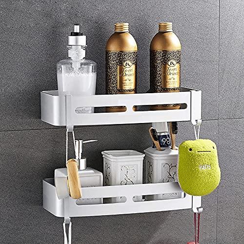 DMAXUN 2 Stücke shampoo halterung duschgel halter duschkorb ohne bohren badezimm duschablag aluminium duschregal selbstklebend duschablage Aluminium hängend rostfrei weiss badregal mit kleben