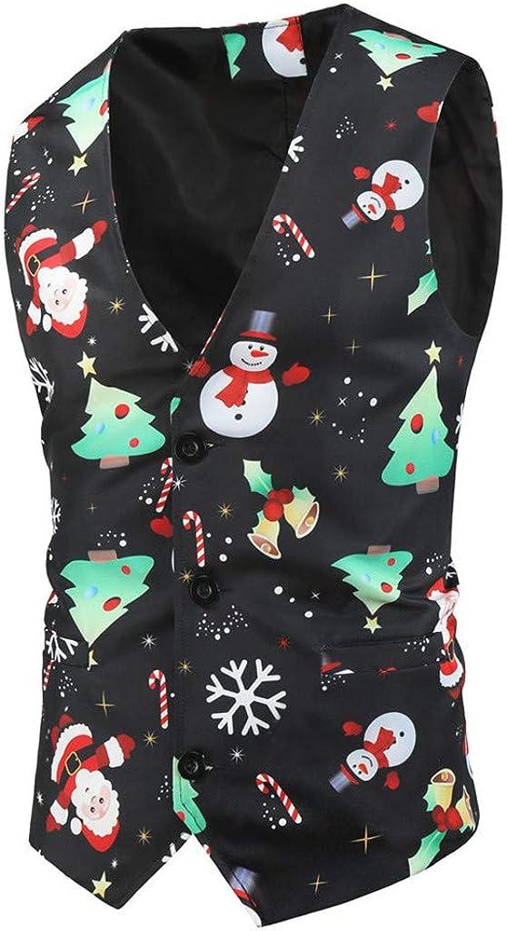 Stoota Mens Christmas Classic Slim Fit Vest, Fancy Snowman Santa Print Sleeveless Button Down Xmas Party Jacket M-3XL
