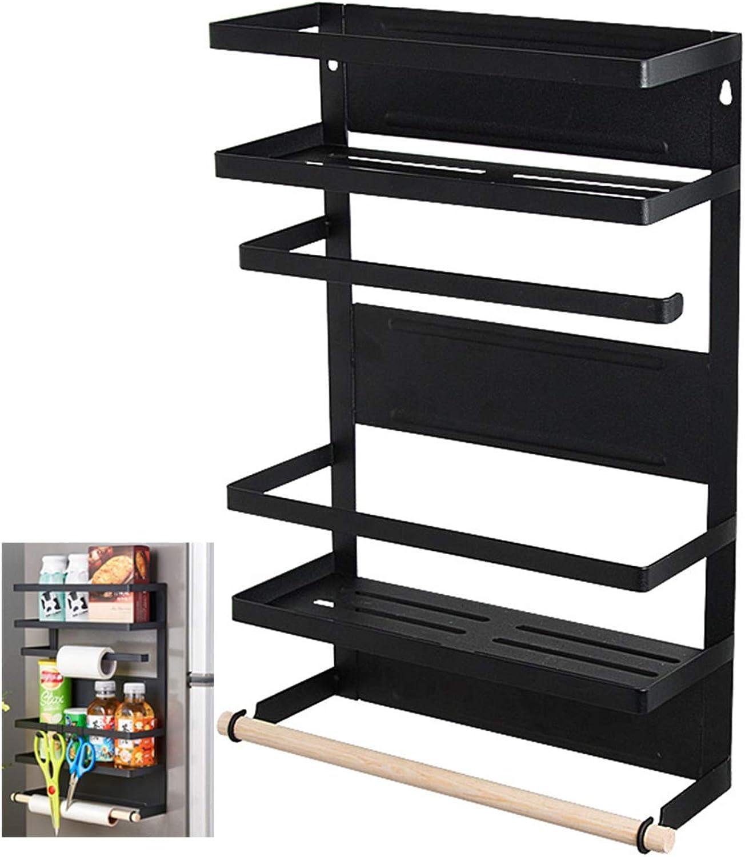 Magnetic Rack Refrigerator-Organizer Rustproof Spice Rack Storage (Black)