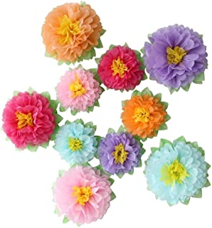 Mybbshower Colorful Fiesta Paper Flowers (9''-7'' Assorted) Set of 10 Outdoor Decoration Kids Birthday Carnival Rainbow Th...