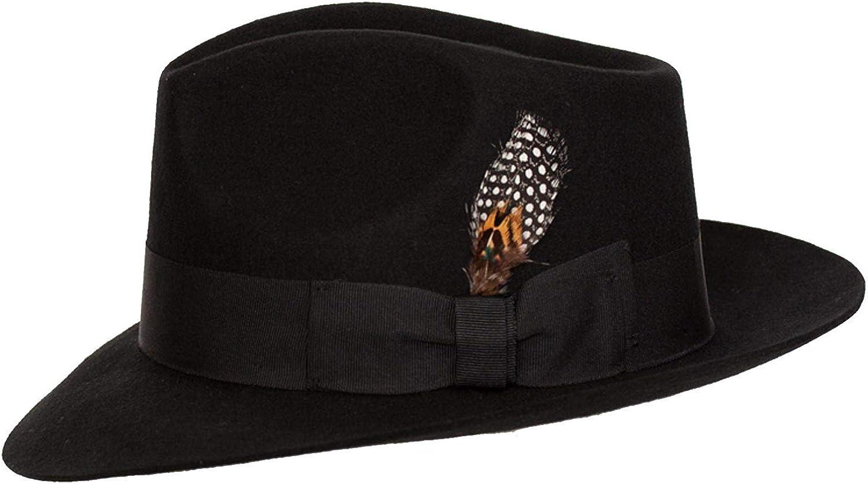 9th Street Hats Louie Mens 100/% Wool Classic Brim Teardrop Fedora Hat
