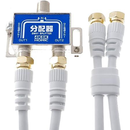 ホーリック アンテナ分配器 【4K8K放送(3224MHz)/BS/CS/地デジ/CATV 対応】 ケーブル2本付属 1m HAT-2SP875