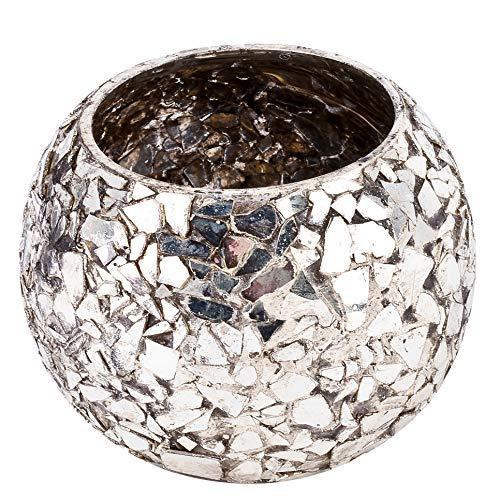 Dadeldo-Home Teelichthalter Mosaik-Design Glas Gold Deko (7x8x8cm)