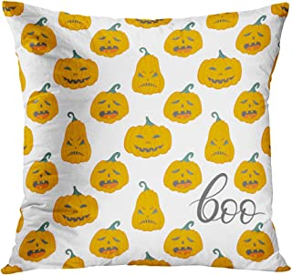 Llsty Throw Pillow Cover Polyester Print Patternhalloween Angry Pumpkins Lettering Autumn Boo Cartoon Celebration Soft Square for Couch Sofa Bedroom Pillowcase Home Style Cushion Case 18 x 18 Inch