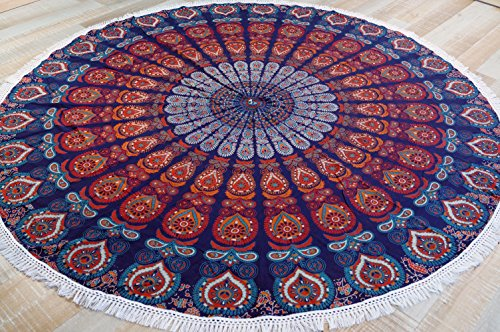 Guru-Shop Rundes Indisches Mandala Tuch, Tagesdecke, Picknickdecke, Stranddecke, Runde Tischdecke - Blau/orange, Baumwolle, Bettüberwurf, Sofa Überwurf