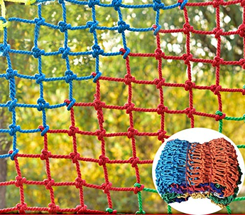 Safe Net Balcony Protection Net Colorful Cat Protection Net,Child Safety Net,Outdoor Fence Net Indoor Party Decoration Net,Suitable For Climbing Balcony Railing Stair Anti-falling Hammock Trampoline C