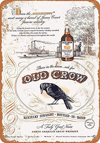 Old Crow Whiskey Maseratl Metall Zeichen Poster Wandtafel Blechschilder Vintage Warnschild Retro Schilder Blech Dekorative Bar Pub Cafe