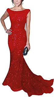 Women's Mermaid Sequined Formal Evening Dress for Wedding Prom Gown