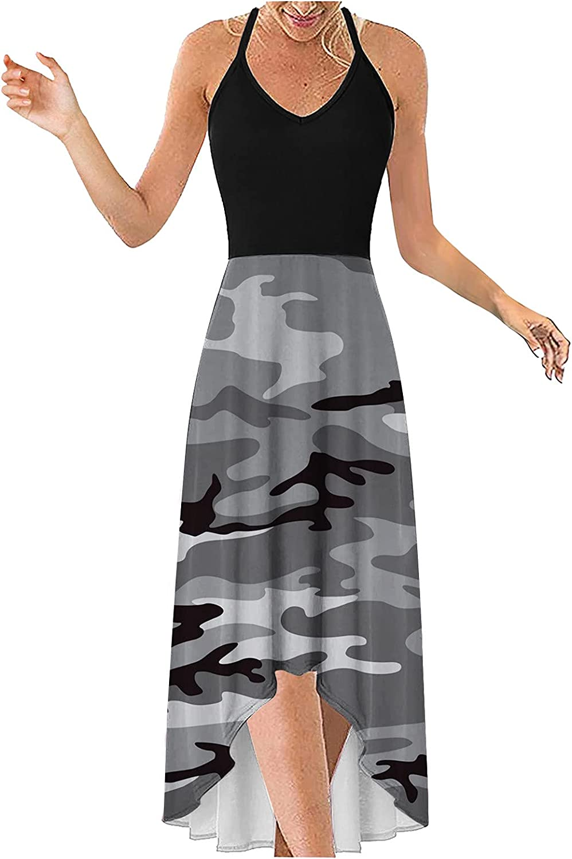 Aniwood Summer Dresses for Women,Women's Casual DeepV Sleeveless Boho Print Cami Sling Maxi Dresses Beach Cami Long Dress