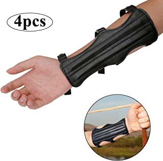Haploon Archery Arm Guards 4 Pack - Leather Forearm Protector Adjustable Bow Armguard - Archery Gear Essential Items