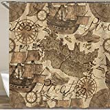 wasserdichte Duschvorhang, alte Schiffe Piraten-Kartenelemente in Sepia-Ton-Weinlese-Aquarellelemente, langlebiger Polyester-Gewebe-Badvorhänge mit 12 Haken, Haus-Badezimmer-Badewanne, Duschen