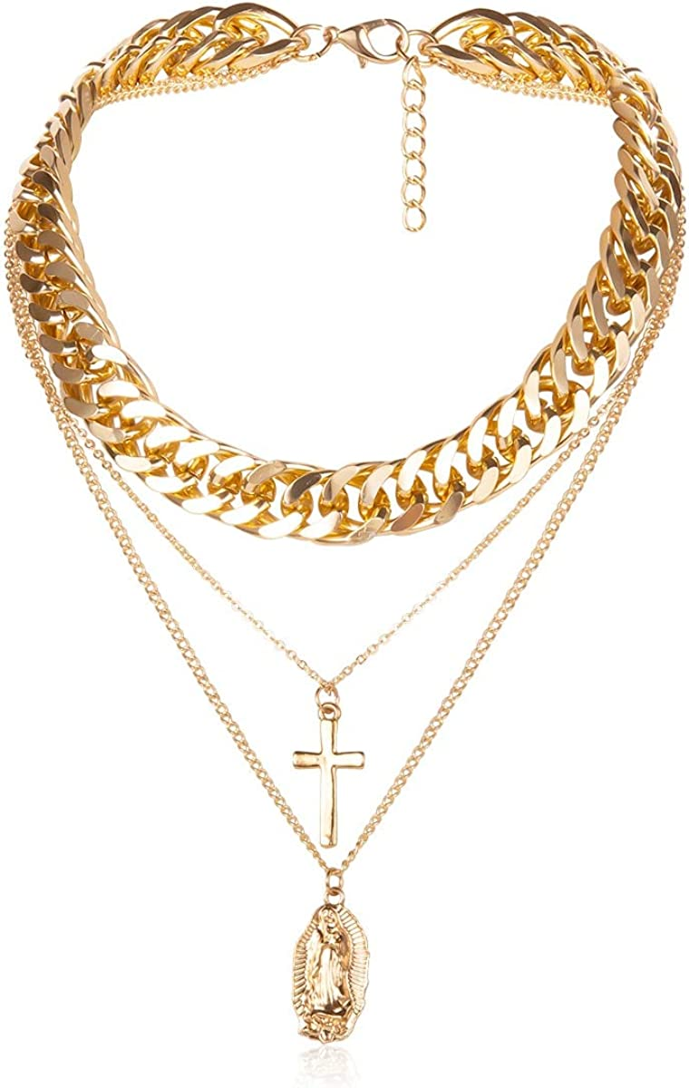 SWAOOS Punk Multi Layer Curb Cuban Thick Choker Necklace Collar Statement Virgin Mary Cross Pendant Necklace Women Jewelry