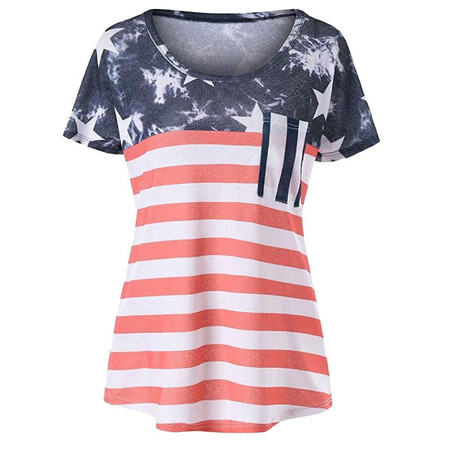 KLFGJ Women T-Shirt, American Printed Tops Short Sleeve O-Neck Loose Blouses Independence Day T-Shirts