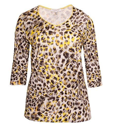 Chalou Mode Damen T-Shirt mit V-Ausschnitt Leopardenmuster Gelb Grau große Größen Plus Size 46 48 50 52 54 56 58 60, Größe:46