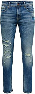 Only & Sons heren Jeans ONSLOOM LIFE SLIM BLUE DAMAGE MA 9815