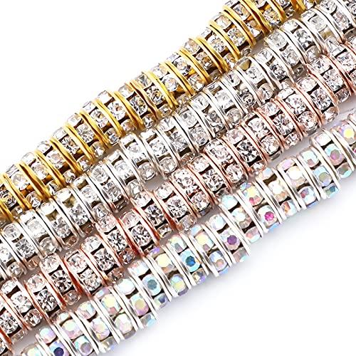 SAVITA 200 piezas 8mm Rondelle Beads Cuentas Espaciadoras Redondas Sueltas de Cristal de Diamantes de Imitación para Hacer Pulseras, Collares, Joyas (Plata, Oro, oro rosa, AB Colorido)
