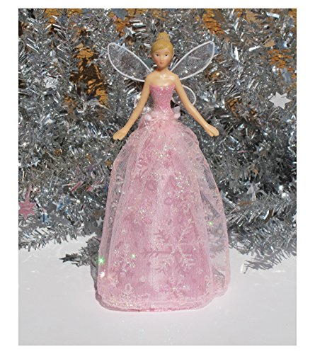 Gisela Graham Resin and Fabric Tree Top Pink Snowflake Angel 19cm