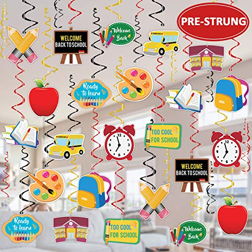 Tifeson 36PCS Back to School Hanging Swirls Decorations - First Day of School Classroom Swirl Hanging Decor - Welcome Back to School Party Decorations Supplies