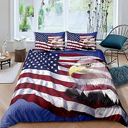 HUA JIE Bed Sheets Single Bed Set American Flag Bedding Set Bald Eagle Duvet Cover Patriot United States For Kids Teen Boys Independence Fourth Of July Theme Quilt With 2 Pillow Cases