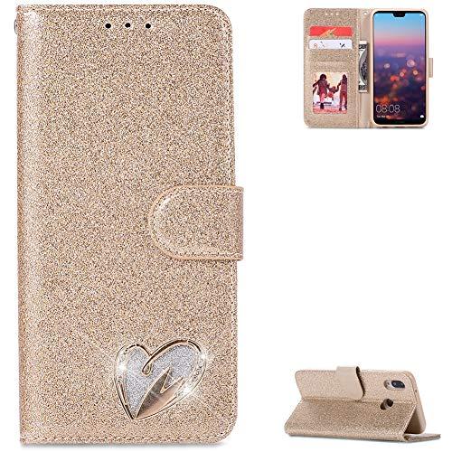 ZCXG Kompatibel mit Handyhülle Huawei P20 Lite Hülle Leder Gold Diamant Hülle Glitzer Magnet Dünn Tasche Kartenfach Brieftasche Mädchen Hülle Silikon Innere Klappbar Flip Stand Cover