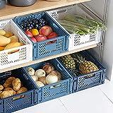 Paquete de 4 cestas de almacenamiento de plástico, cajas plegables de almacenamiento, cesta organizador para alimentos, frutas, verduras, cocina y baño