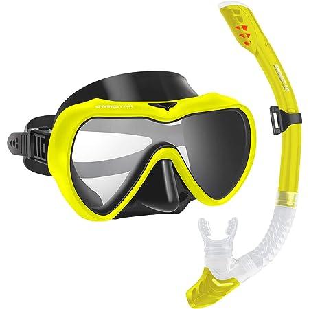 Scuba Diving Swimming Training Equipment Youth Junior Men Womens QTECLOR Snorkel Mask Set Snorkeling Gear Dry Snorkel Set and Mask Kids Adults Anti Fog 180 Degree Seaview with Mesh Bag