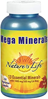 Nature's Life Mega Minerals Complex | Complete Multi Mineral + Vitamin D Supplement | 250 Vegetarian Capsules