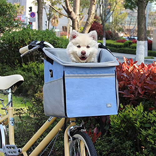 RAYMACE Dog Bike Basket Bag with Reflective Stripe Multipurpose Pet Carrier for Dogs and Cats,Happy...