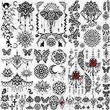EGMBGM 28 Sheets Tribal Henna Temporary Tattoos For Women Girls, Waterproof Fake Tattoos Temporary Elephant Ganesha Lace Mehndi Hena Tattoo Kits, Lotus Mandala Flower Tatoo Sticker Moon Neck Chest Arm