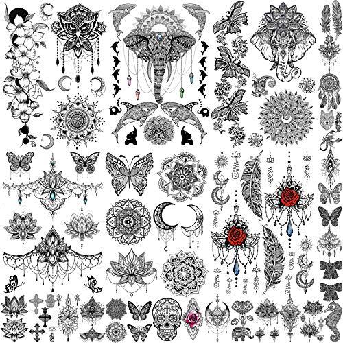 EGMBGM 28 Blätter Schwarz Temporäre Tattoos Frauen Mädchen Hochzeit Bräute Tribal, Wasserdichte Fake Tattoos Temporäre Damen Elefanten, Lotus Blumen Tatoo Aufkleber Mond Hals Brust Arm Schmetterling