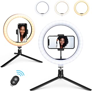 """10.2""""Selfie Ring Light with Tripod Stand & Phone Holder & Remote Control & 10 Brightness Level & Dimmable 3 Light Modes for Makeup/Live Stream/YouTube Video/Vlogs/Photography"""