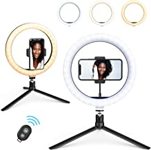 """$39 » 10"""" Ring Light, Beemoon Selfie Ring Light with Tripod Stand Universal Phone Holder Bluetooth Remote Control USB Power for Live Stream Makeup YouTube TikTok"""