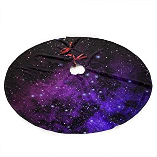 ZZATAA Christmas Tree Skirt Outer Space Nebula -35.5 Inches