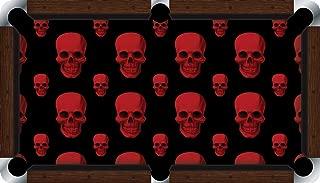 Pool Table Felt Billiard Cloth - VIVID - Red Skulls