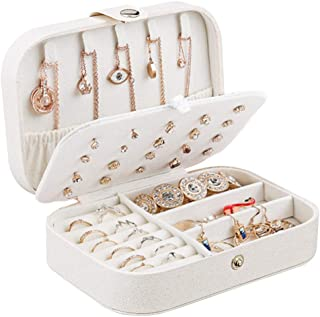Jewelry Box Case, Small Travel PU Leather Jewellery Storage Organizer for Rings Earrings Necklace Bracelets Jewelry Gift Box for Girls Women (White)