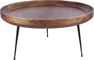 TUP The Urban Port, Brown and Black Round Mango Wood Coffee Table With Splayed Metal Legs