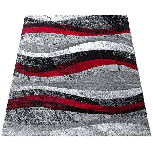 Amazon Brand - Umi Alfombra Salon Comedor Pasillo Cocina Pelo Corto Diseño De Modernas Geometrica Ondas Abstracto, Color:Rojo, Tamaño:120x170 cm