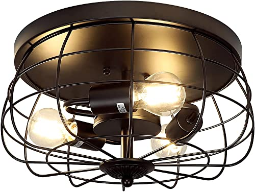 2021 DLLT new arrival 3-Light Industrial Semi Flush Mount Ceiling Light Fixtures, 15 Inch Vintage Metal Cage Lights, Rustic Ceiling Lamp Lighting Fixture for Kitchen Hallway Living Room Bedroom, online Mate Black, E26 sale