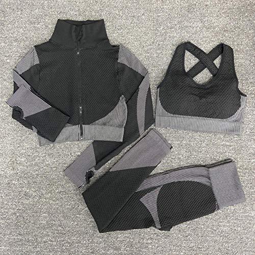 NOP Frauen Yoga Anzüge, Frauen Sport Yoga Kleidung, weißes Set 3 Stück, M.