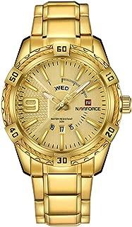 NAVIFORCE Men Gold Waterproof Stainless Steel Quartz Watch
