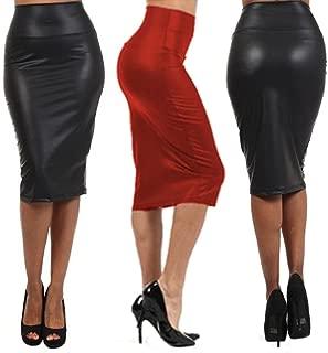 Women Leather Stretch High Waist Pencil Midi Skirt Bodycon Short Dress