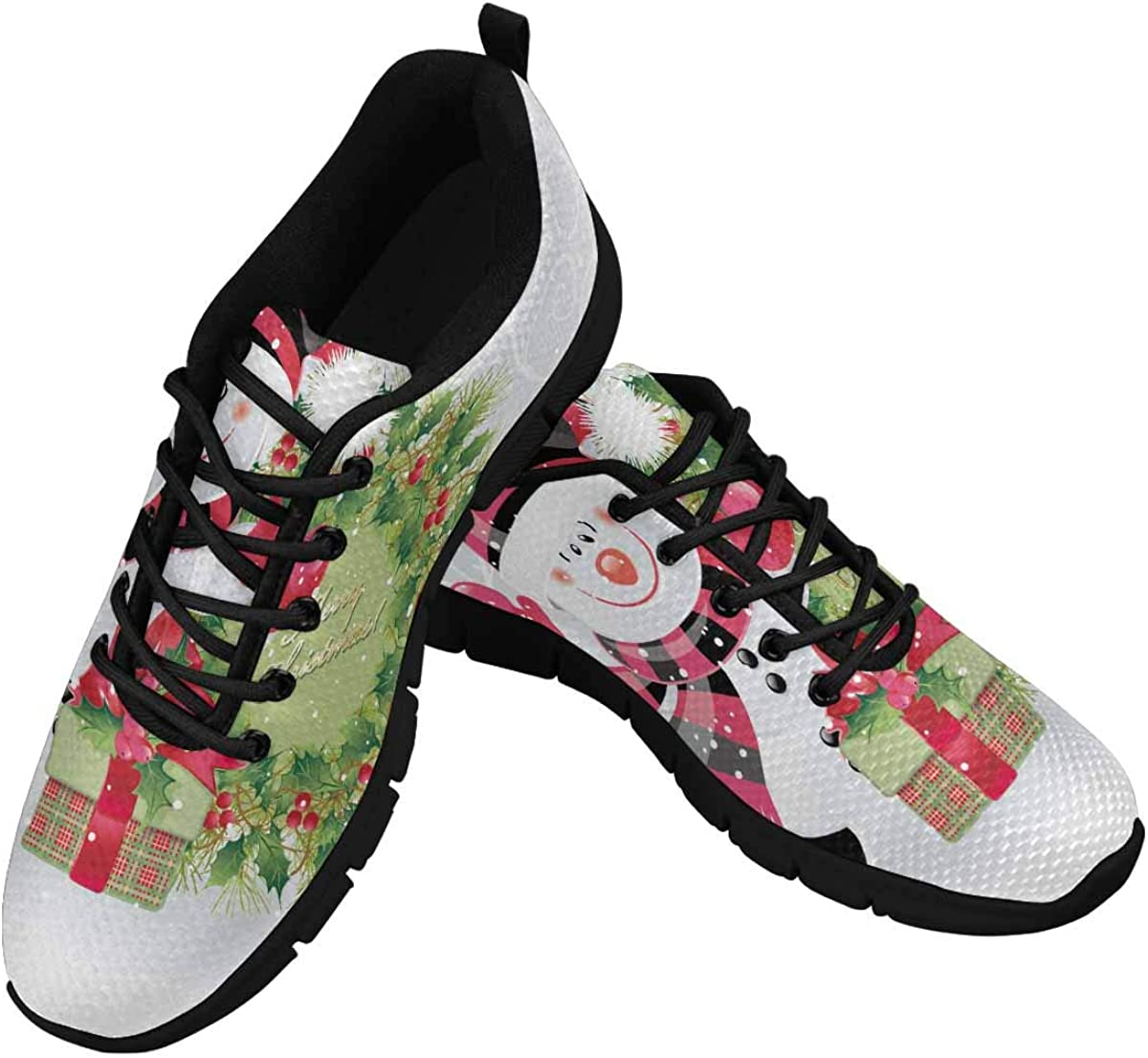 INTERESTPRINT Snowman with Christmas Wreath Women's Breathable Sneaker