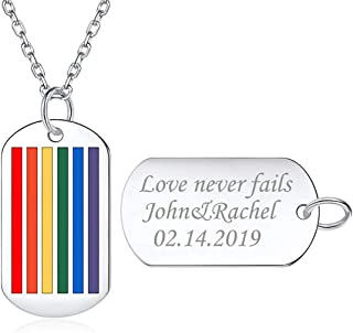 Rainbow Gay & Lesbian LGBT Pride Jewelry Personalized Custom Message Engraved 925 Sterling Silver Necklace Dog Tag Pendant for Men Women